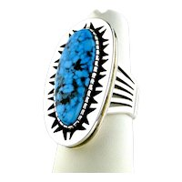 Allison Lee Number Eight Turquoise Ring Sterling Silver, Signed