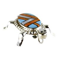 Zuni Multicolor Gemstones Inlay Sterling Turtle Pendant