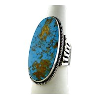 Edison Sandy Smith Ring, Sterling Silver, Bisbee Turquoise, Navajo
