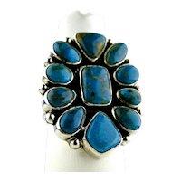 Navajo Joe Piaso Jr. Royston Turquoise Silver Cluster Ring.