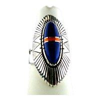 Navajo Leo Yazzie Jr. Lapis Lazuli Inlaid  Ring.