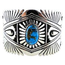 Native American Thomas Jim Turquoise Cuff-Bracelet.