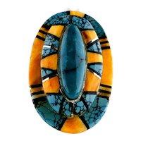 Navajo Richard Begay Turquoise Mosaic Inlaid Sterling Ring