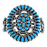 Native American Vintage Coin Silver Turquoise Cluster Bracelet