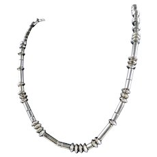 Native American Navajo Indian Sterling Silver Barrel Beads Necklace