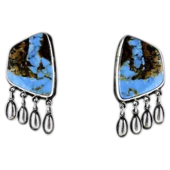 Navajo Jimmy Begay Jr. Pilot Turquoise Sterling Silver Earrings