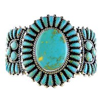 Green King Manasa Turquoise Cluster Silver Cuff   Bracelet