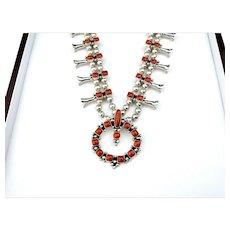 Navajo Mike Platero Mediterranean Coral Squash Blossom Silver Necklace