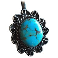 """"""" Turquoise Pendant Sterling Silver."""""""