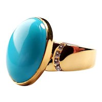 14K Gold Natural Sleeping Beauty Turquoise, Diamond Ring