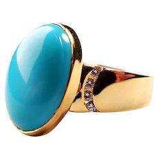 14K Gold Natural Sleeping Beauty Turquoise, Diamond Ring