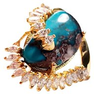 14k Gold Ring 1.0 ct Diamond and Bisbee Turquoise