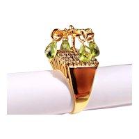 14k Gold Cocktail Ring 2 Ct. Diamonds & 1.5 ct Peridot