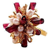 14k Gold Natural Garnet and Seed Pearls Cluster Ring