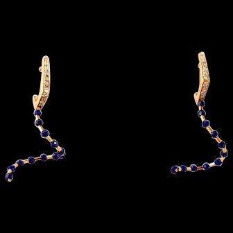 Diamond, Lapis Lazuli 14k Gold Dangle Earrings by Manzano