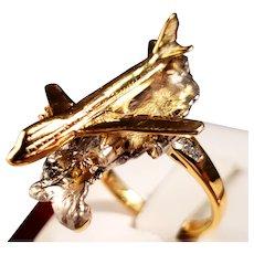 """"""" 14k Yellow and White Gold Diamond Handmade Airplane Ring """""""