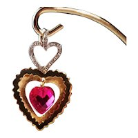 14k Gold Three Heart Pendant Diamonds & Rubellite