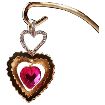 14k Gold Double Heart Pendant Diamonds And Red Crystal