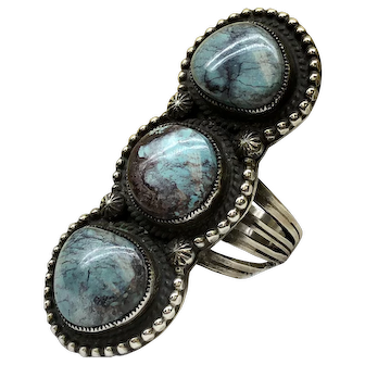 Native American Natural Turquoise Smokey Bisbee Sterling Silver Ring By Calvin Martinez
