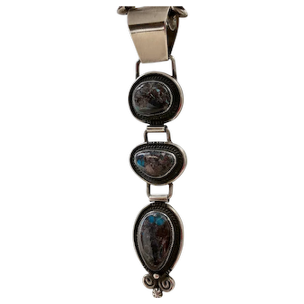 Natural Turquoise Smokey Bisbee Sterling Silver Pendant By Calvin Martinez