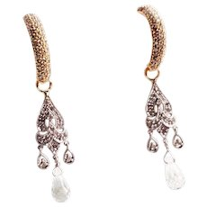Diamonds .60 Ct And Aquamarine 12 karat Gold Chandelier Earrings