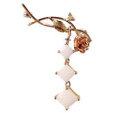 Women's 3 Genuine Opals Journey  Rose Flower Brooch in 14k Gold
