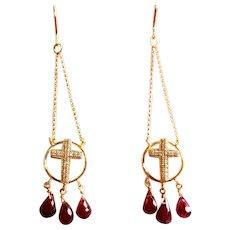 14k Gold Diamond & Garnet  Dangle Cross Earrings