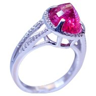 14k White Gold Pink Tourmaline & Diamond Ring Handcrafted