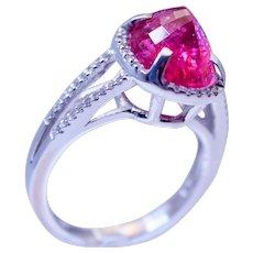14k White Gold Pink Tourmaline & Diamond Ring Handcrafted