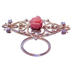 14k Yellow Gold Diamond And Skin Angel Coral  Cocktail Ring