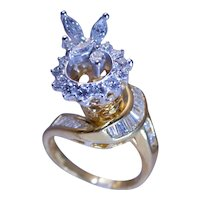 1.30 Ct. Diamond Modern Ring Handcrafted 18k & 14k Gold