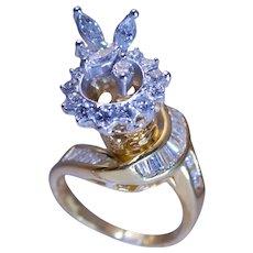 Custom Designed 18k And 14k  Yellow Gold Diamond Ring Total Diamond Carat Weight 1.3 ct