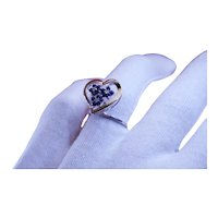 Sapphire and Diamond 14k White Gold Heart Ring