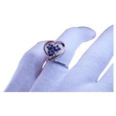 Sapphire and Diamond 14k White Gold Heart Ring