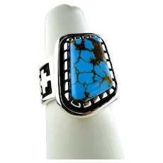 Native American Alvin Tso Natural Number Eight  Turquoise Handmade Ring Sterling Silver
