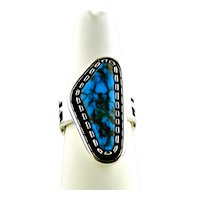Native American Alvin Tso Natural Lone Mountain Turquoise Handmade Ring Sterling Silver