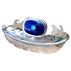 Australian Opal & Lapis Lazuli Sterling Silver Handmade Feather Cuff Bracelet
