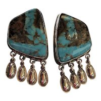 Dangle Turquoise Silver Earrings By Jimmy Begay Jr.