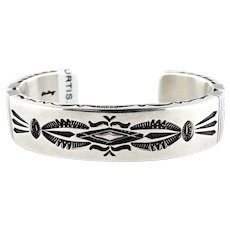 Native American Thomas Curtis Sterling Silver Heavy Cuff