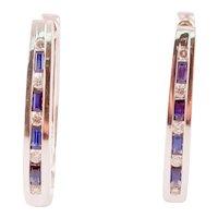 Diamond & Sapphire 14k White Gold  Hoop Earrings