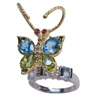 14k Gold Butterfly Ring Colorful Gem Handmade