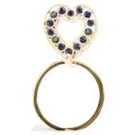 14k Solid Gold Natural Blue Sapphire Heart Ring Handcrafted by Manzano