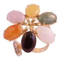 14k Gold Diamond & Multicolor Jade Flower  Ring