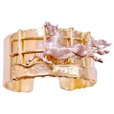 14k Gold & Diamonds Stallion Cuff  Bracelet