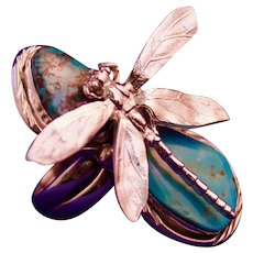 Unisex Natural Turquoise Sterling Silver Dragonfly Ring By Manzano