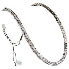 Navajo Travis Teller Sterling Silver Woven Necklace