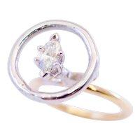 Artisan Diamond 14k Gold Ring 0.40 Ct Marquise Cut