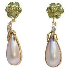 Diamonds Peridot & Mabe Pearl 14K Gold Earrings Handcrafted