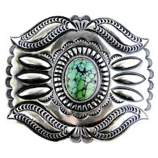 Paul J. Begay Green Turquoise Sterling Silver Buckle