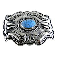 Paul J. Begay Blue Turquoise Sterling Buckle Signed